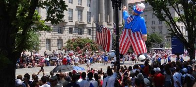 The National Independence Day Parade in Washington, D.C. transforms the capital of the United States into all red, white and blue decorations. The parade is just one of many events throughout the day. Source: july4thparade.com.