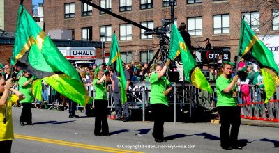 St. Patricks Day in Boston, Massachusetts includes parades and celebrations due to its Irish population. Today, the event brings about a million visitors each year. Source: boston-discovery-guide.com.