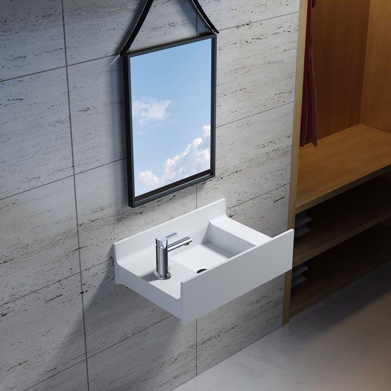Petite Vasque De Salle De Bain En Solid Surface Vasque De Petite Taille Version Gauche