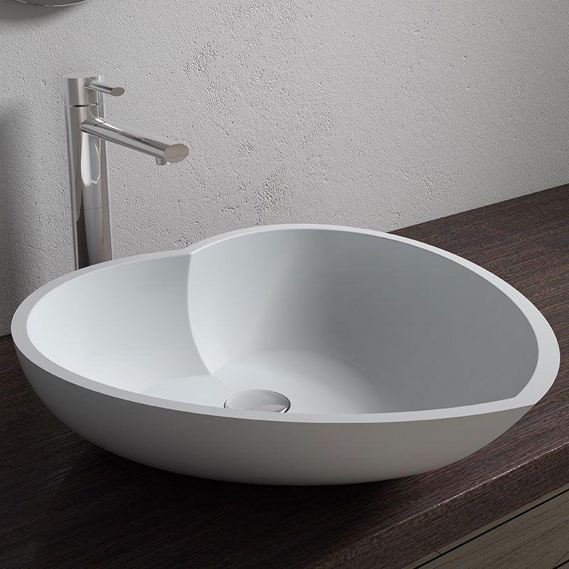 Vasque A Poser Blanche En Forme De Cœur Vasque A Poser Blanche En Solid Surface Sdv17