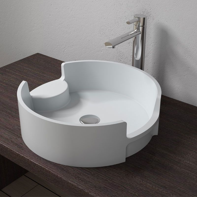 Vasque A Poser Ronde Blanche En Solid Surface Vasque A Poser Ronde Blanche Sdv69