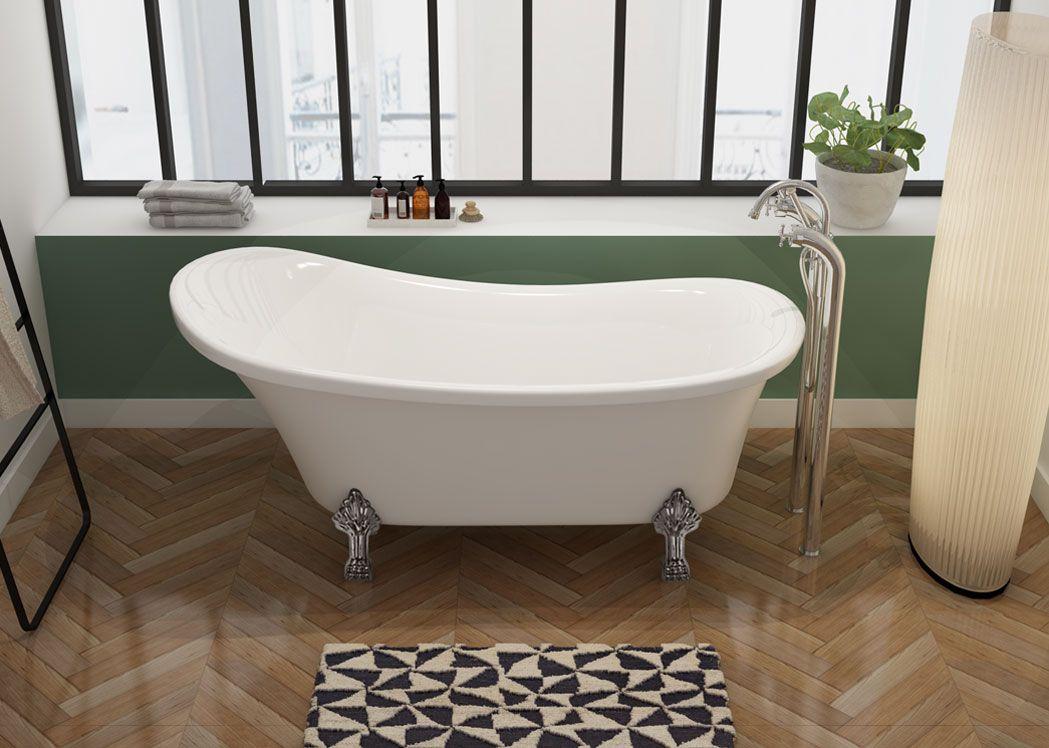 baignoire ilot 160 cm sur pieds petite