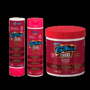 Novex Kit Meus Cachos De Cinema Shampoo 300ml, Acondicionador 300ml Y Crema De Peinar 1K