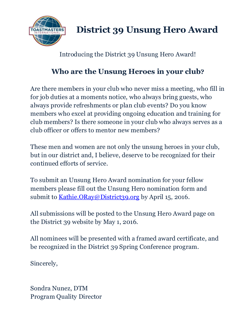 The District 39 Unsung Hero Award w-edits