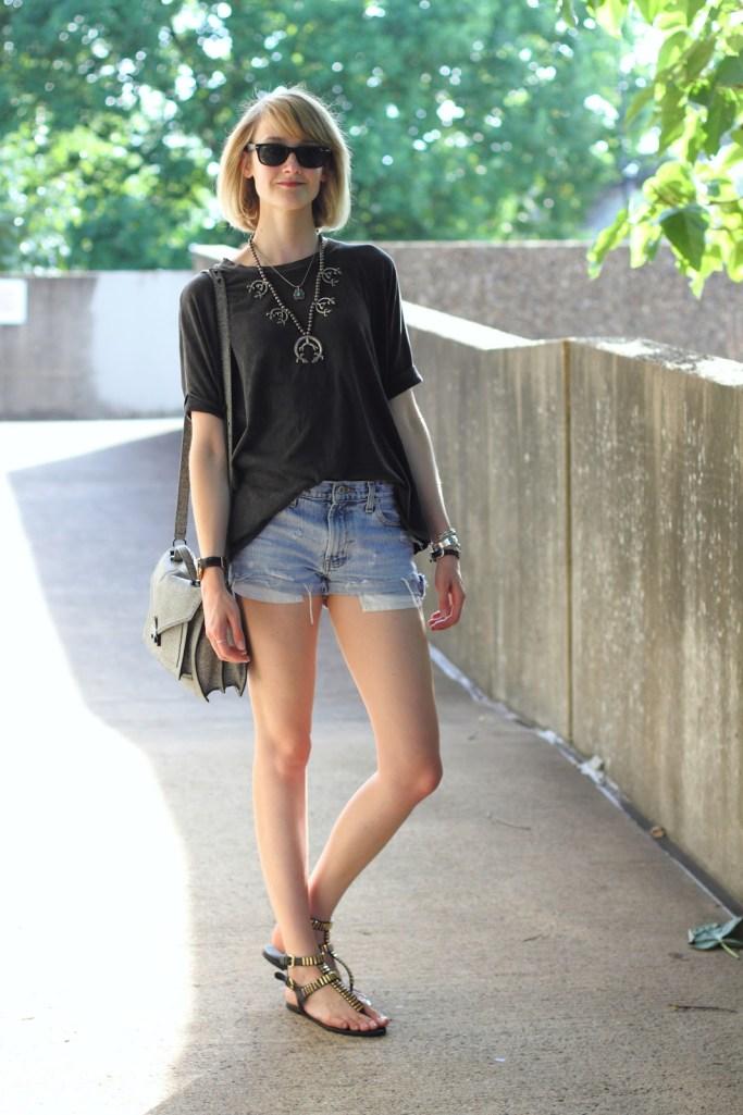 squash blossom, oversized tee, distressed denim shorts