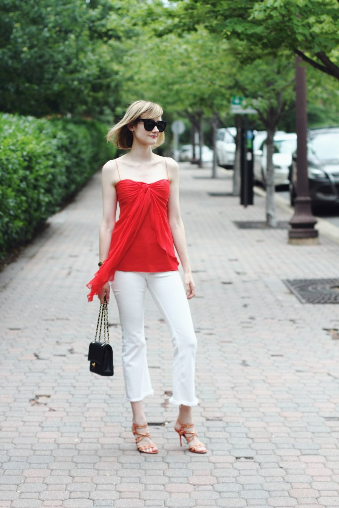 red top and white crop denim