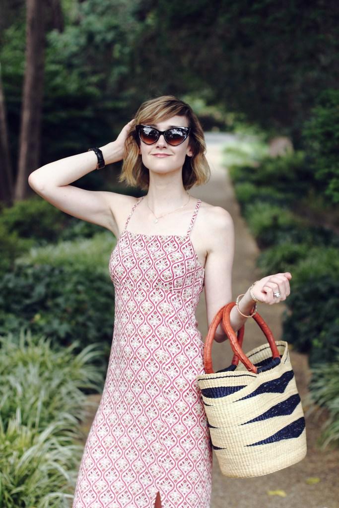 cat eye sunglasses and boho dress