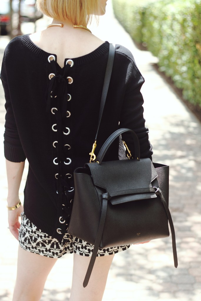 Express laceup sweater and Celine bag