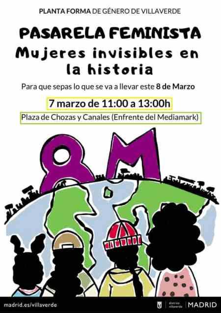 Cartel Pasarela feminista. Preparando el 8M