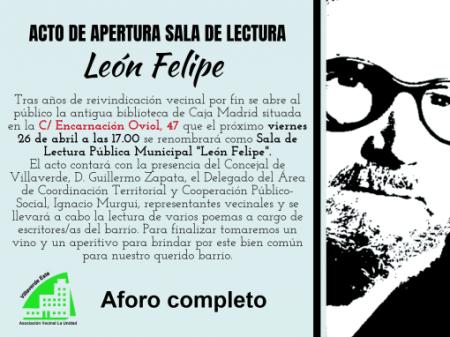 Inauguración de la sala de lectura León Felipe en Villaverde Bajo