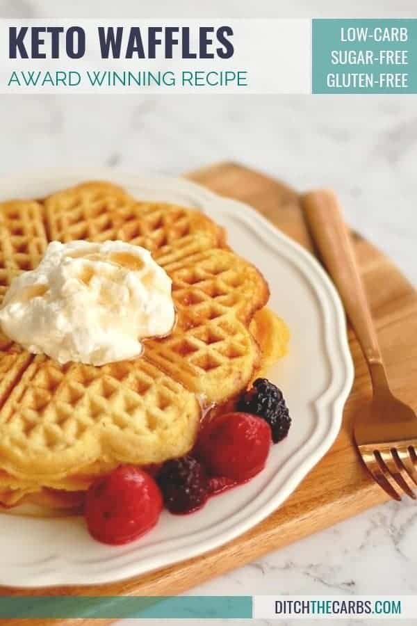 """These have just been named """"the best keto waffles in the world"""". """"You are the keto goddess"""". Just a few ingredients and simple to make. Make a double or triple batch and freeze them. Make them sweet or savoury. #glutenfreewaffles #glutenfreepancakes #lowcarb #ketowaffles"""