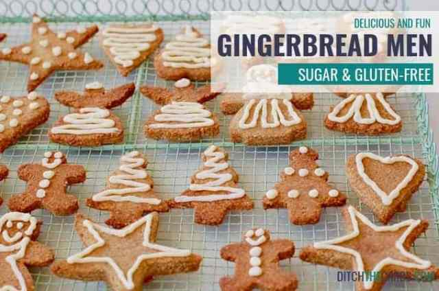 Amazing sugar free gingerbread men that are also gluten free, low carb and easy to make. | ditchthecarbs.com #SugarFreeRecipe #GlutenFreeRecipe #GingerbreadCookies #ChristmasCookieRecipes
