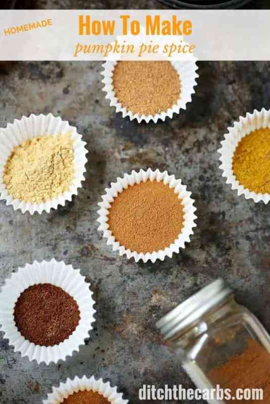 How to make pumpkin pie spice with my homemade recipe. Then make my pumpkin pie spice fudge, pie or latte! | ditchthecarbs.com