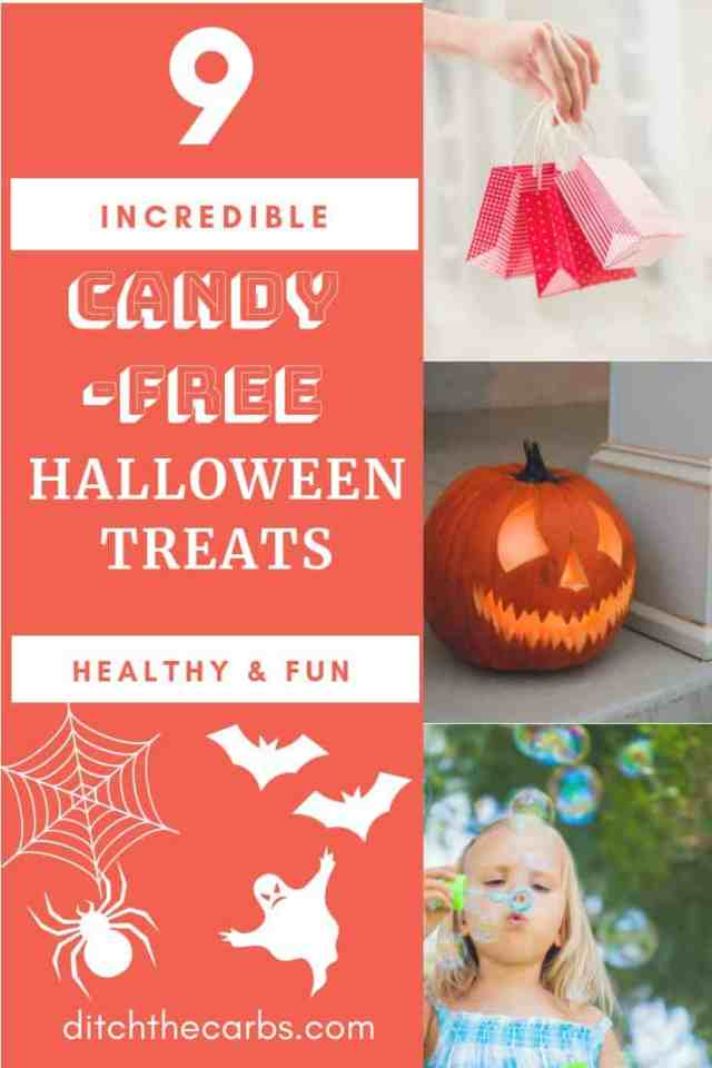 9 Incredible candy-free Halloween treats to enjoy a healthy Halloween this year. And still have lots of fun! #halloween #healthyhalloween #sugarfreecandy #sugarfreehalloween #ketohalloween #keto #glutenfree #healthyfamily
