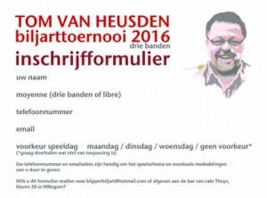 inschrijfformulier,Tom van Heusden biljarttoernooi 2016