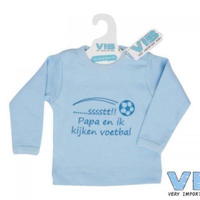 t-shirt blauw 3+6M sst...papa en ik kijken voetbal
