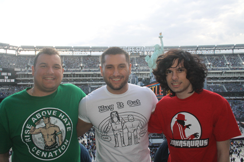 The brothers and I at Wrestlemania 29...unintentional human Italian flag.