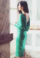 rochie verde cu paiete
