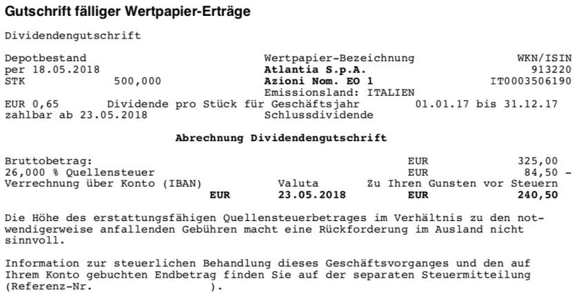 Die Originalabrechnung der Dividendenzahlung von Atlantia im Mai 2018