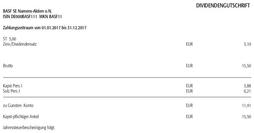 Die Originalabrechnung der Dividendenzahlung von BASF im Mai 2018