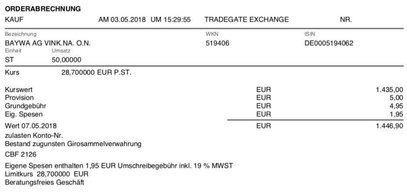 Die Originalabrechnung des Kaufs der Aktien der BayWa AG im Mai 2018