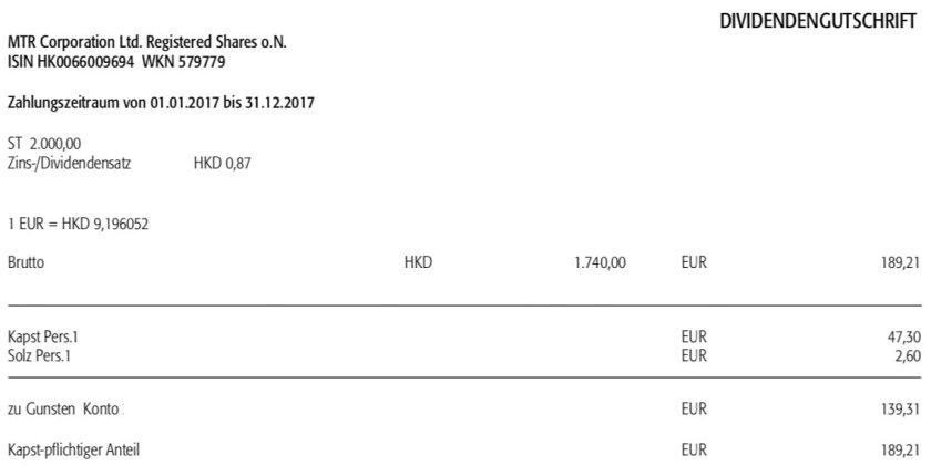 Die Originalabrechnung der Dividendenzahlung von MTR im Juli 2018
