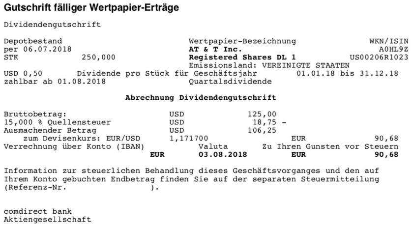 Die Originalabrechnung der Dividendenzahlung von AT&T im August 2018