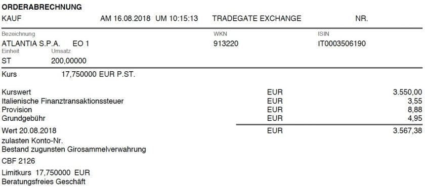 Die Kaufabrechnung von Atlantia im August 2018