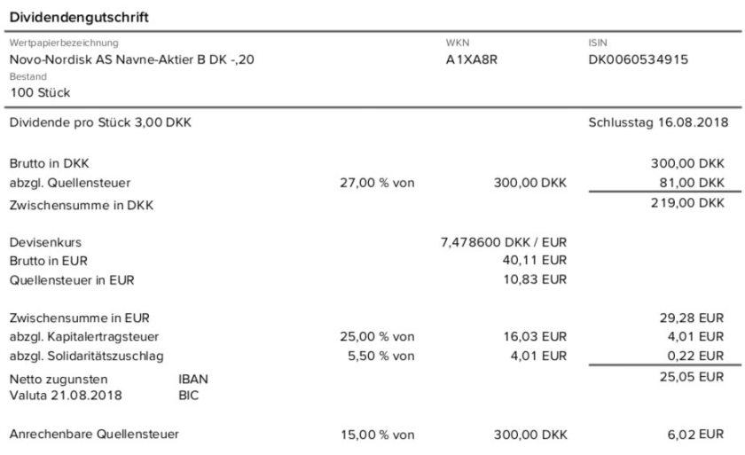 Dividendenabrechnung Novo Nordisk im August 2018