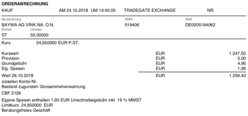 Die Originalabrechnung des Kaufs der BayWa-Aktien im Oktober 2018