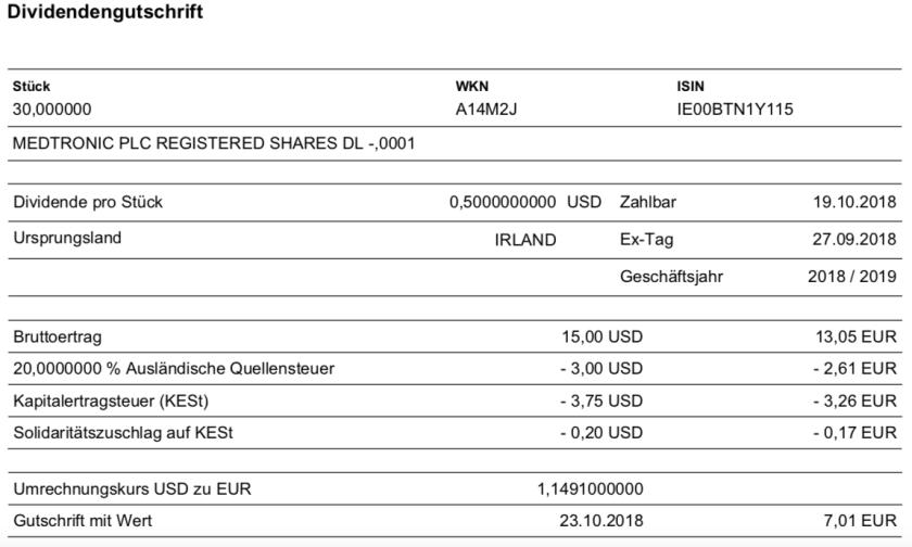 Die Originalabrechnung der Medtronic-Dividende im Oktober 2018
