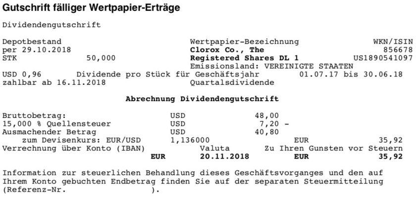 Die Originalabrechnung der Clorox-Dividende im November 2018