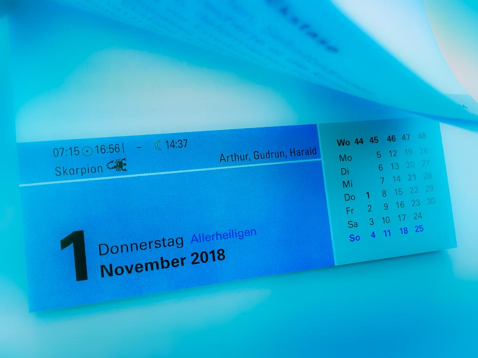 Kalenderblatt Monatswechsel Oktober/November 2018