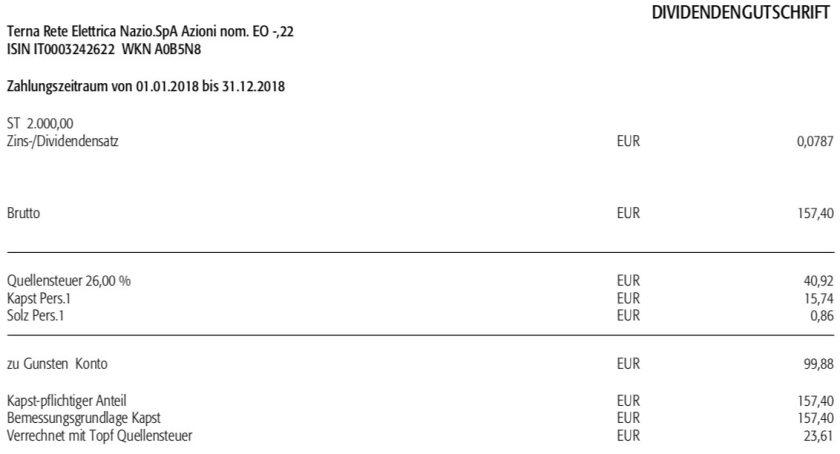 Die Originalabrechnung der Dividende von Terna im November 2018