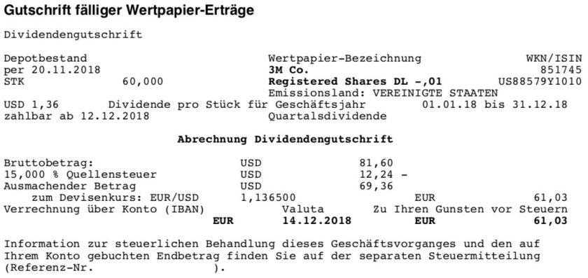 Die Originalabrechnung der 3M-Dividende im Dezember 2018