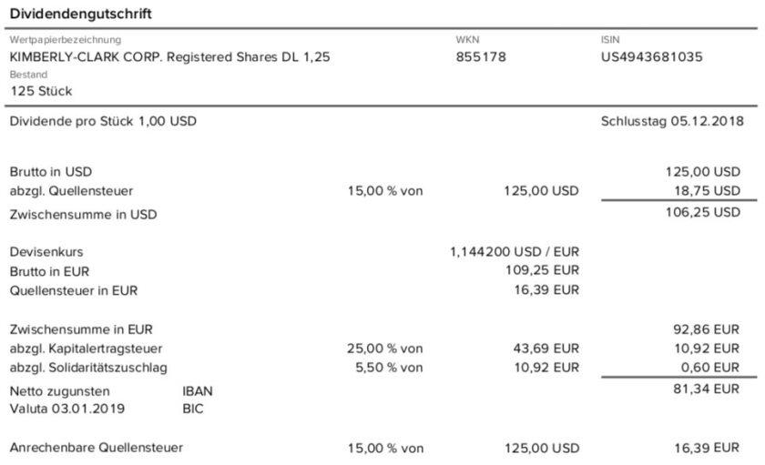 Die Originalabrechnung der Kimberly-Clark-Dividende im Januar 2019