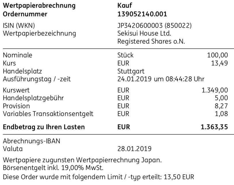 Die Originalabrechnung des Aktienkaufs Sekisui House im Januar 2019