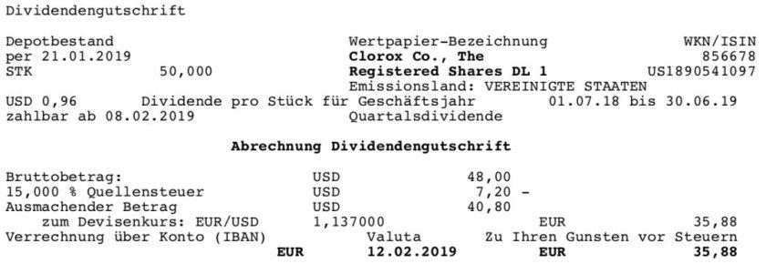 Die Originalabrechnung der Clorox-Dividende im Februar 2019