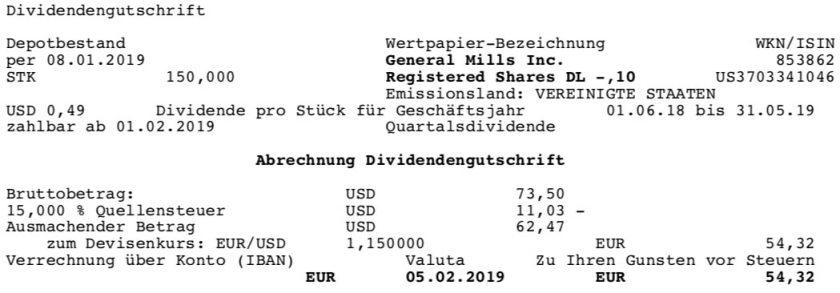 Die Originalabrechnung der GIS-Dividende im Februar 2019