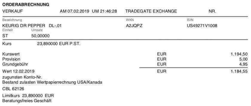 Die Originalabrechnung des Verkaufs von Keurig Dr Pepper im Februar 2019