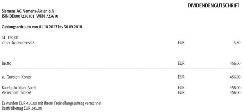 Die Originalabrechnung der Siemens-Dividende im Februar 2019