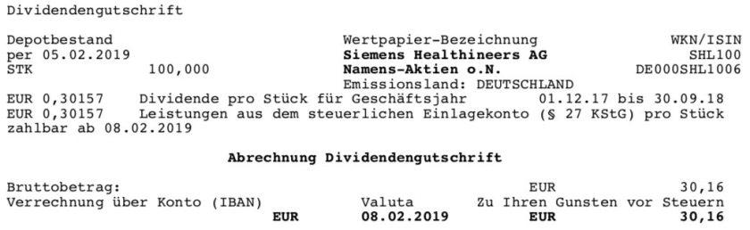 Die Orginalabrechnung der Siemens Healthineers Dividende im Februar 2019 Teil 2