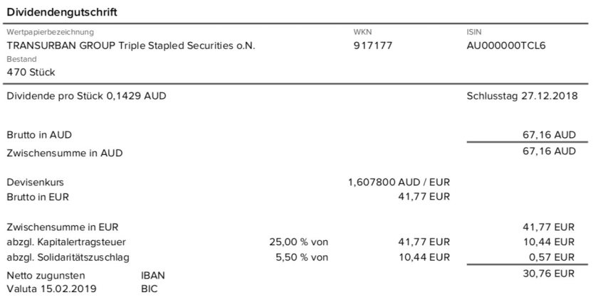 Die Originalabrechnung der Transurban Group-Dividende im Februar 2019 0% Quellensteuer