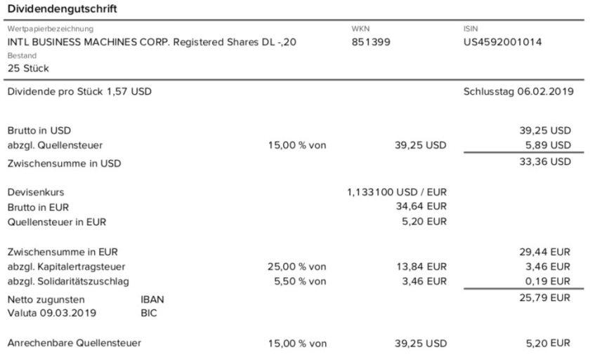 Originalabrechnung der IBM Dividende im März 2019