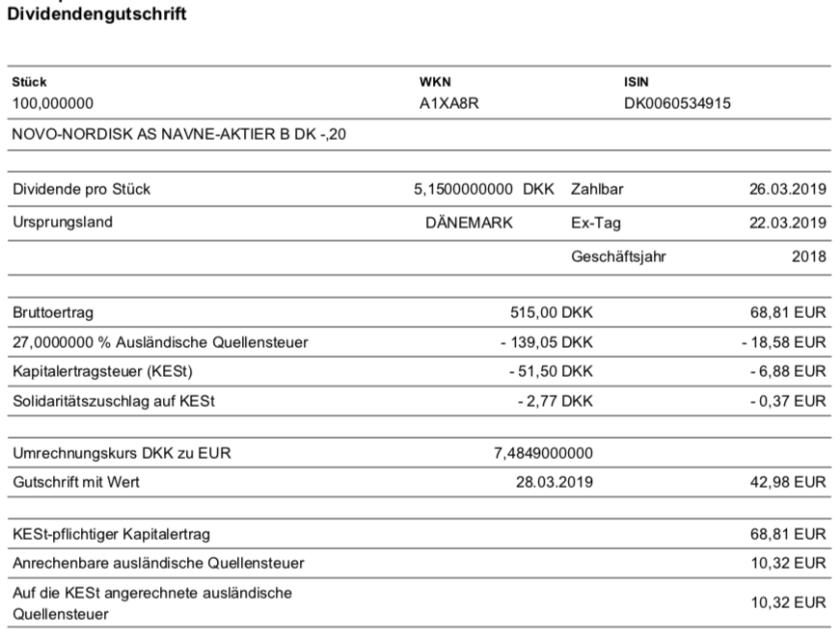 Originalabrechnung der Dividendenzahlung von Novo Nordisk im März 2019