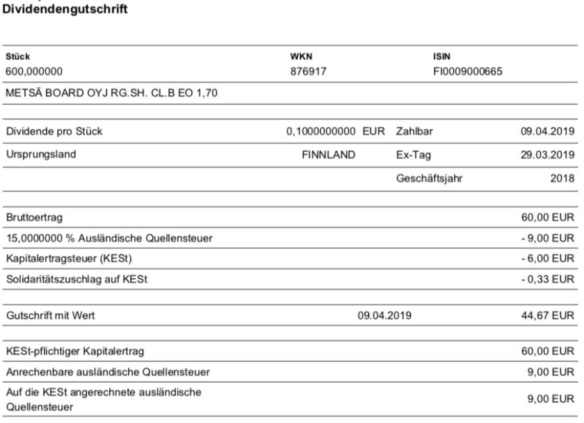 Originalabrechnung Dividende Metsä Board im April 2019