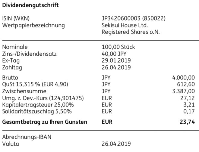 Dividendenabrechnung Sekisui House im April 2019