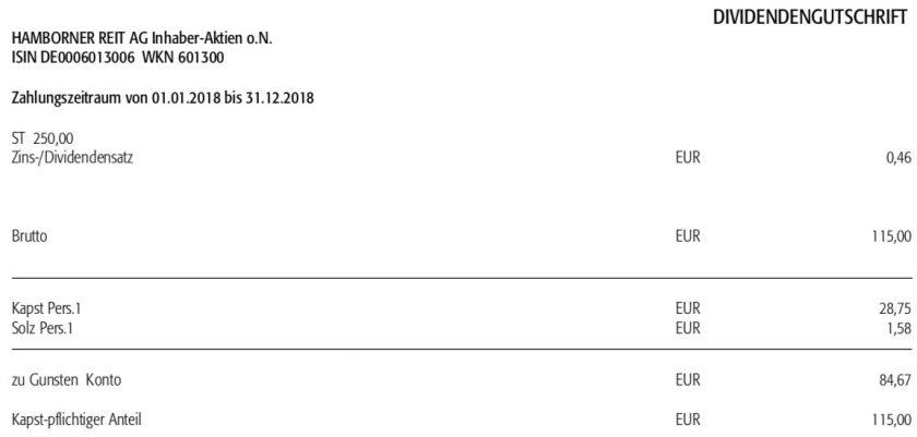 Dividendenabrechnung Hamborner REIT im Mai 2019