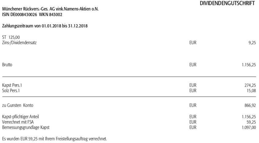 Dividendenabrechnung Munich Re im Mai 2019