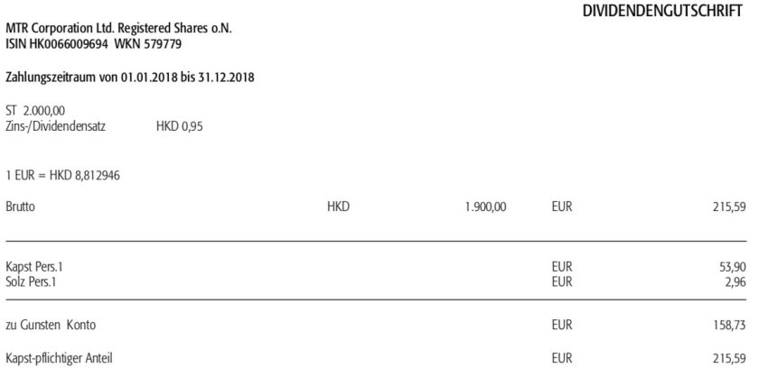 Originalabrechnung Dividende MTR im Juli 2019